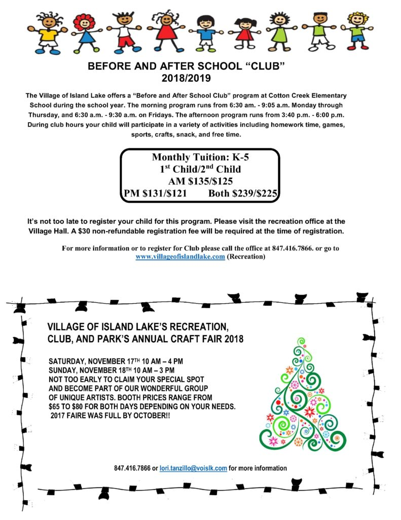 Before and After School Small Flier 2018-2019 and Craft Fair for Website