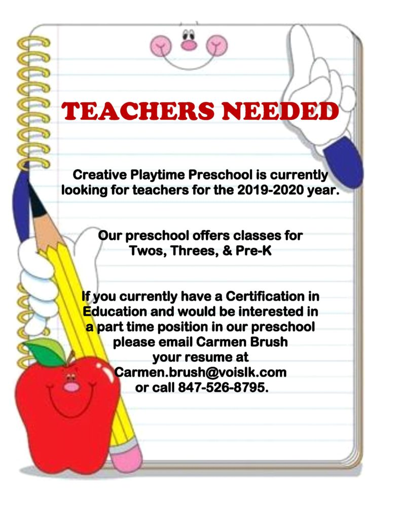 Teachers Needed Ad 2019-2020