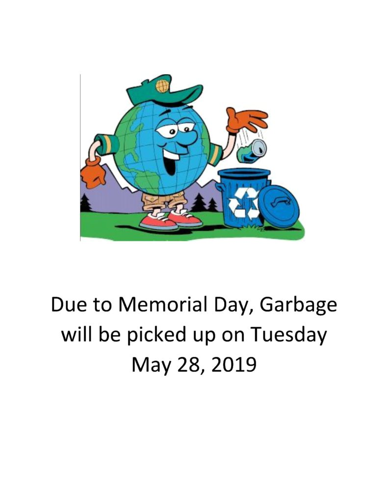Due to Memorial Day