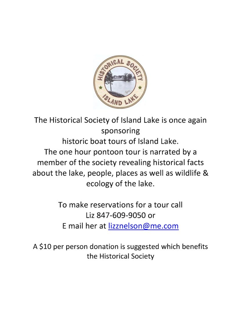 Take a historic boat tour on Island Lake sponsored by the Island Lake Historical Society