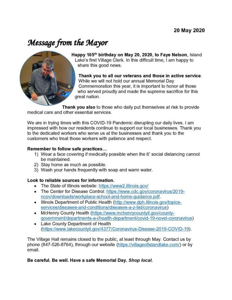 Message from the Mayor 5-20-2020