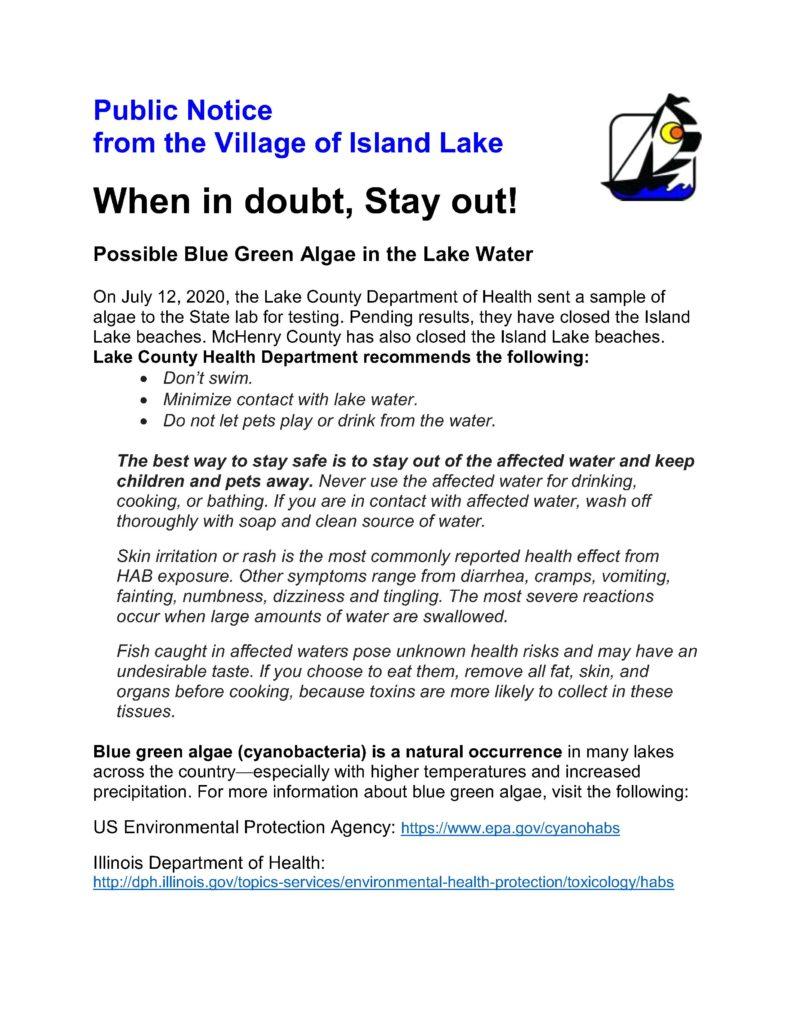 Public Notice Blue Green Algae July 2020