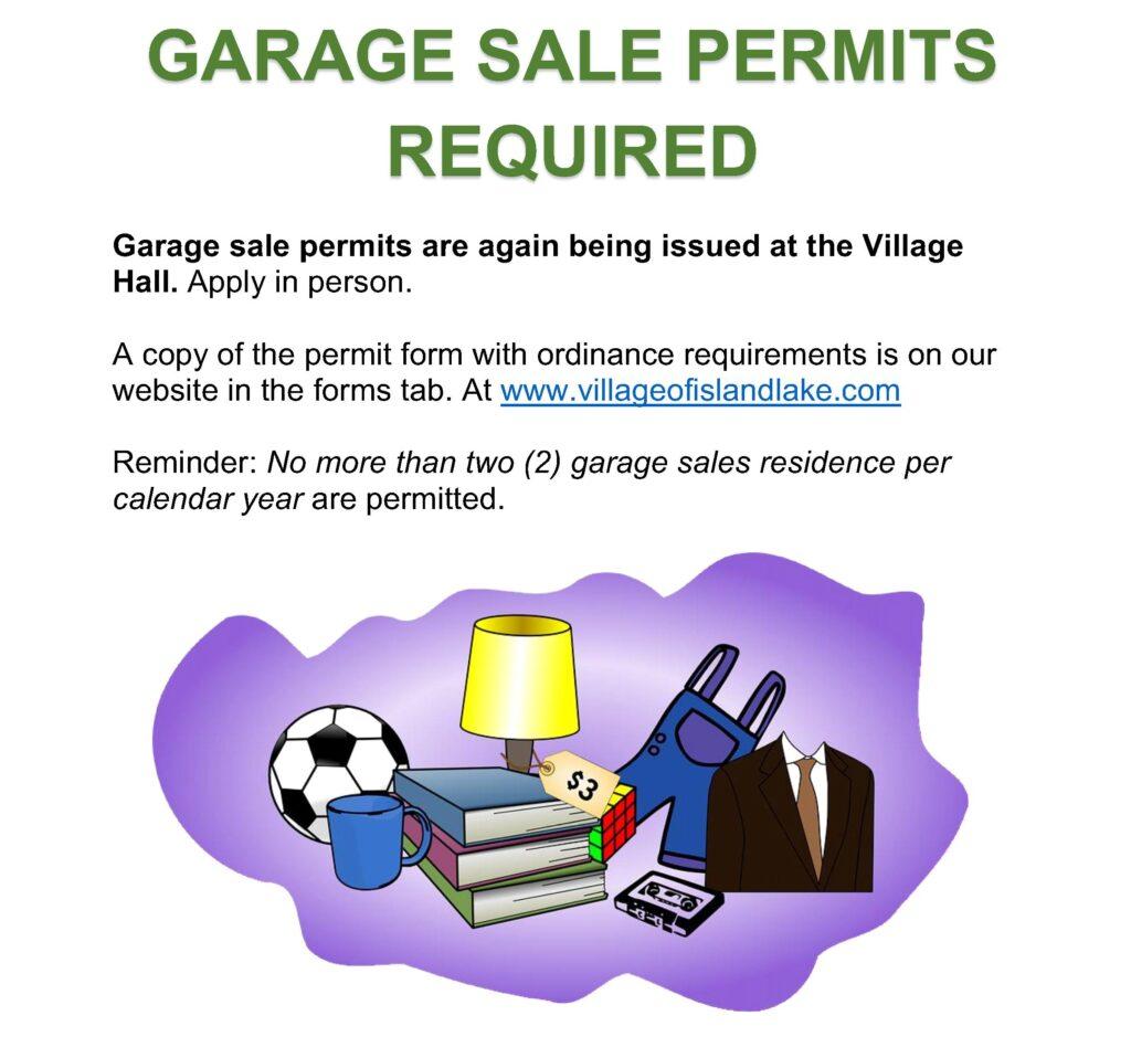 GARAGE SALE PERMITS ARE REQUIRED