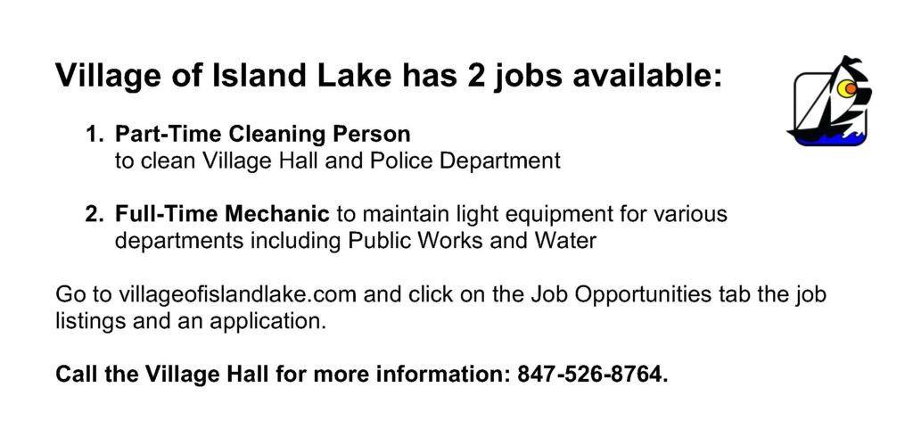 Village of Island Lake Jobs Available