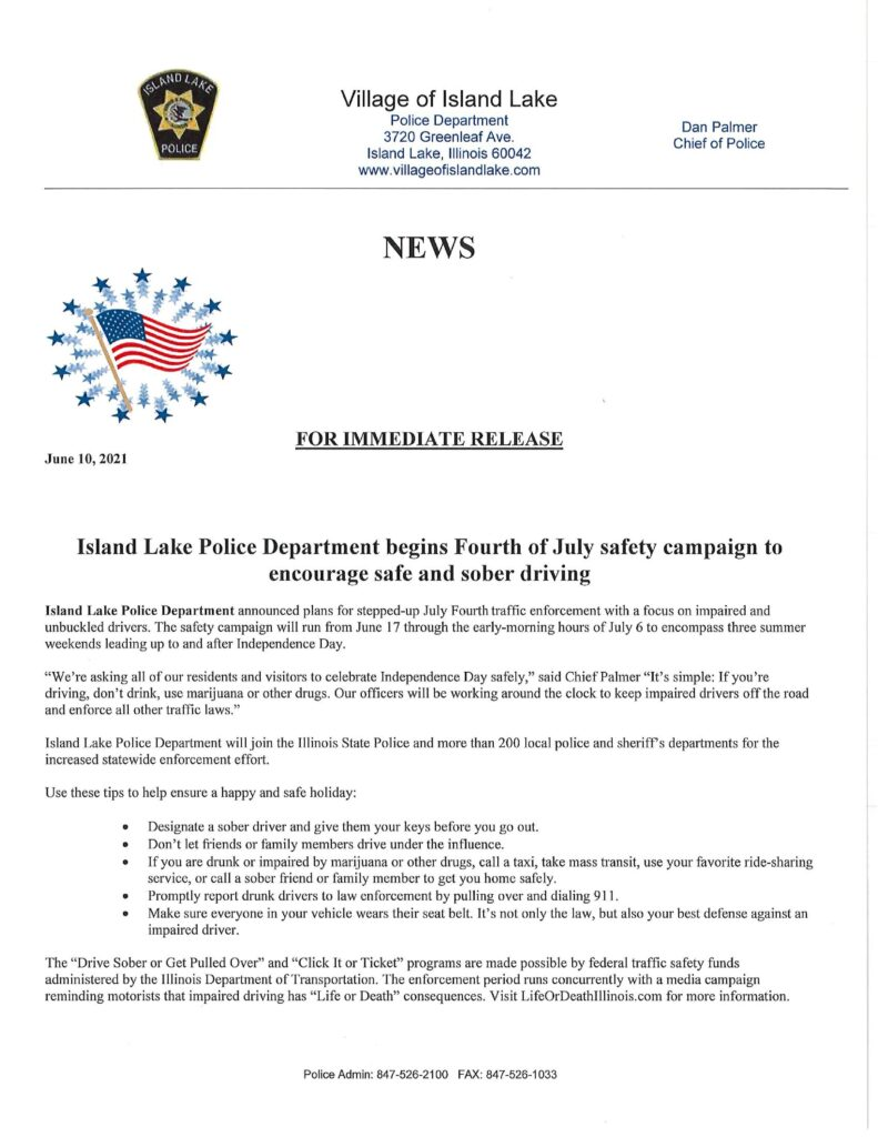 4th of July Police Message