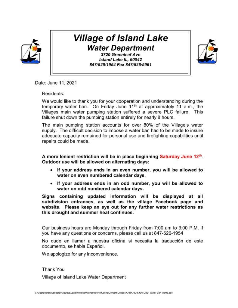 June 2021 Water Ban Memo